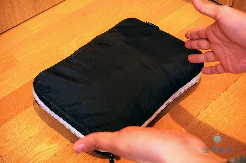 トラベラブ圧縮バッグで衣類を圧縮