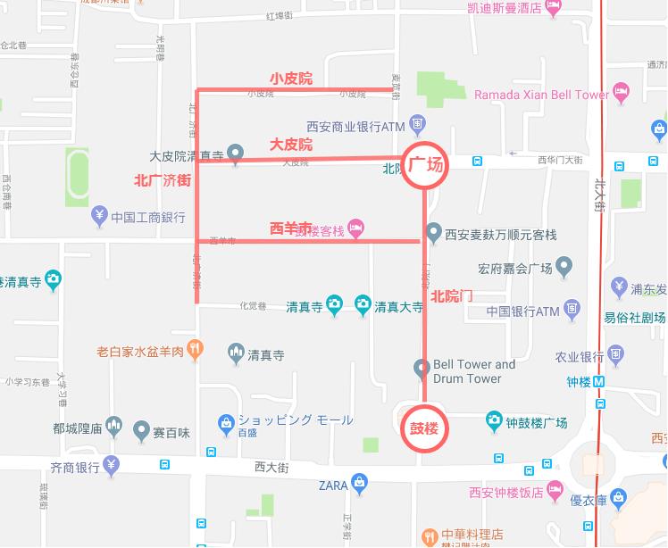 西安・回民街の地図