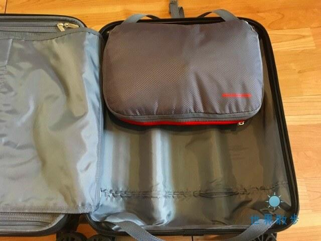 圧縮バッグをスーツケースに配置