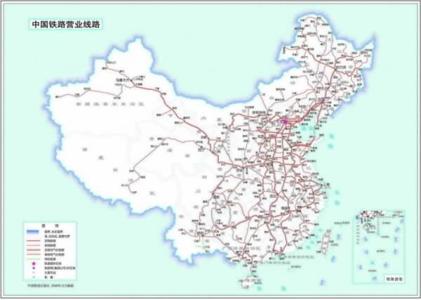 中国鉄道の路線図