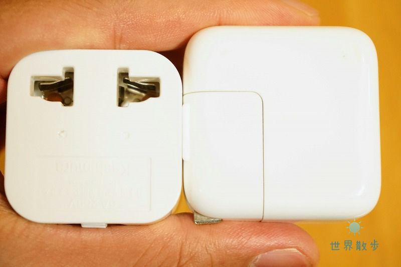 マルチ変換プラグ・カムイとアップル充電器の比較